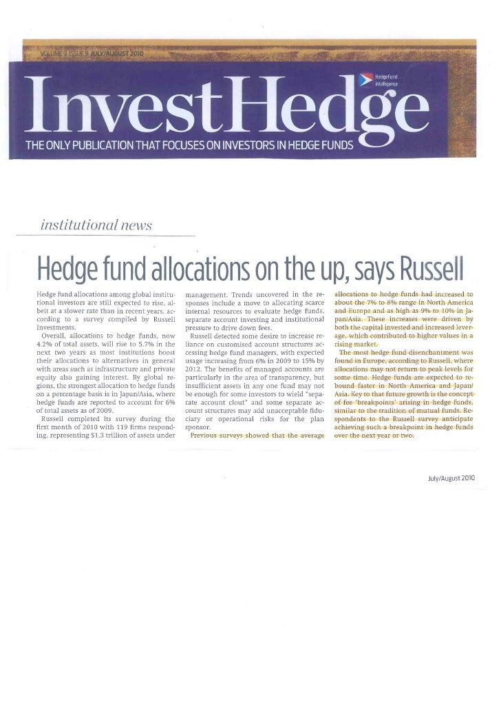 Investhedge re hedge fund allocations july 2010