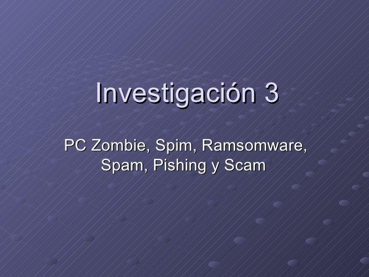 Investigación 3 PC Zombie, Spim, Ramsomware, Spam, Pishing y Scam