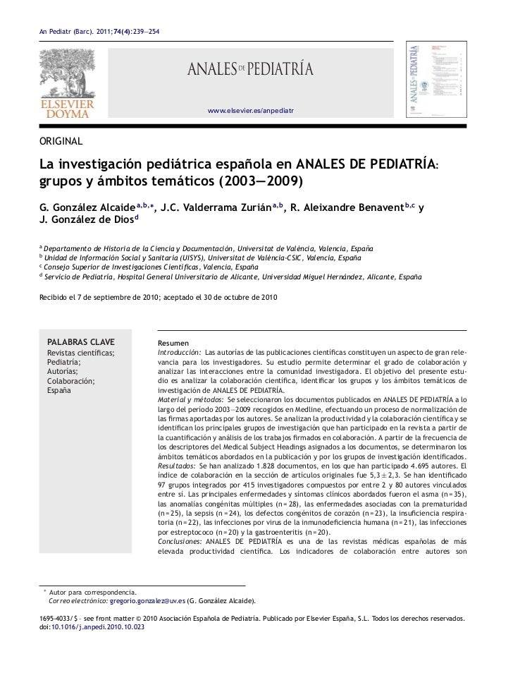 Investigación pediatrica en anales de pediatría