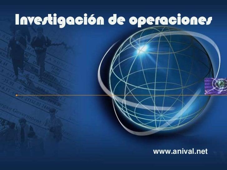 Investigación de operaciones                        www.anival.net