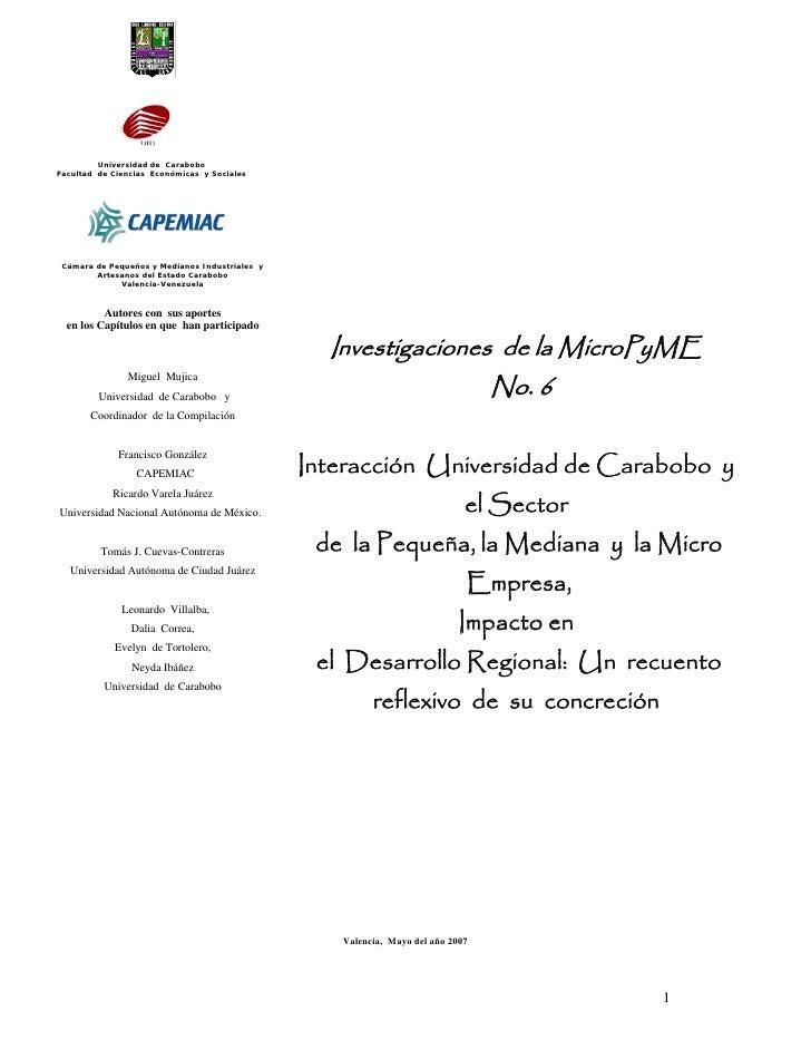 Universidad de Carabobo Facultad de Ciencias Económicas y Sociales      Cámara de Pequeños y Medianos Industriales y      ...