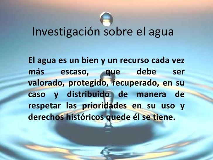 Investigación sobre el agua
