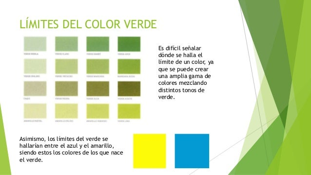 El color verde - Gama de verdes ...