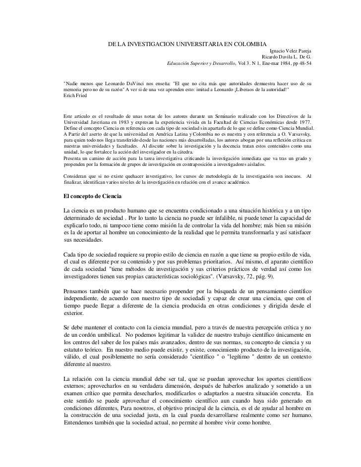 DE LA INVESTIGACION UNIVERSITARIA EN COLOMBIA                                                                             ...