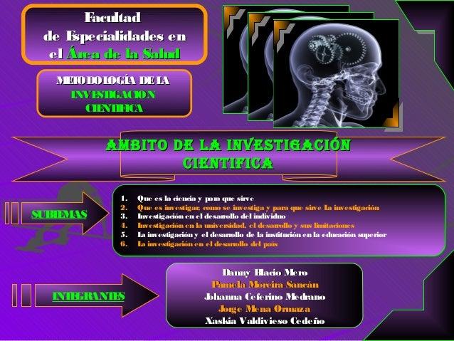 Facultad  de E specialidades en   el Área de la Salud    MT     E ODOL OGÍA DE LA      INVE IGACION          ST        CIE...