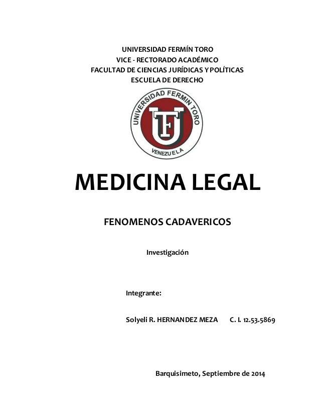 UNIVERSIDAD FERMÍN TORO  VICE - RECTORADO ACADÉMICO  FACULTAD DE CIENCIAS JURÍDICAS Y POLÍTICAS  ESCUELA DE DERECHO  MEDIC...