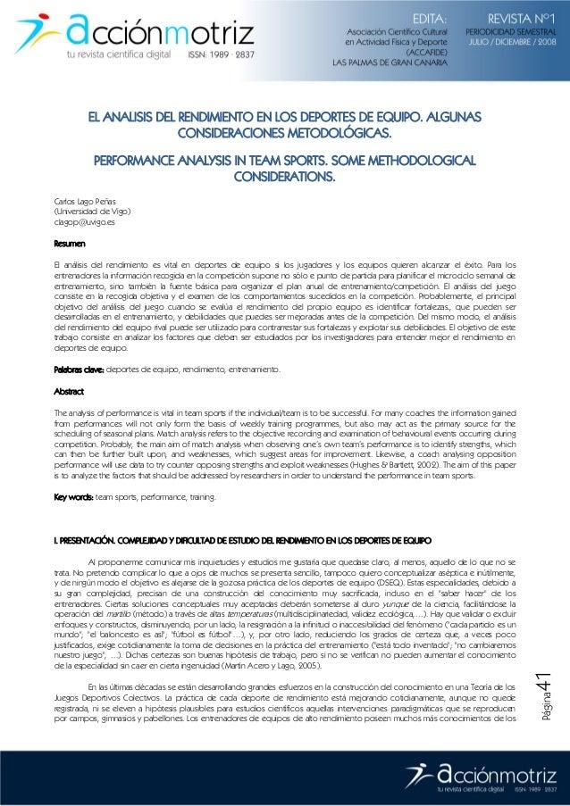 Página41 EL ANALISIS DEL RENDIMIENTO EN LOS DEPORTES DE EQUIPO. ALGUNAS CONSIDERACIONES METODOLÓGICAS. PERFORMANCE ANALYSI...