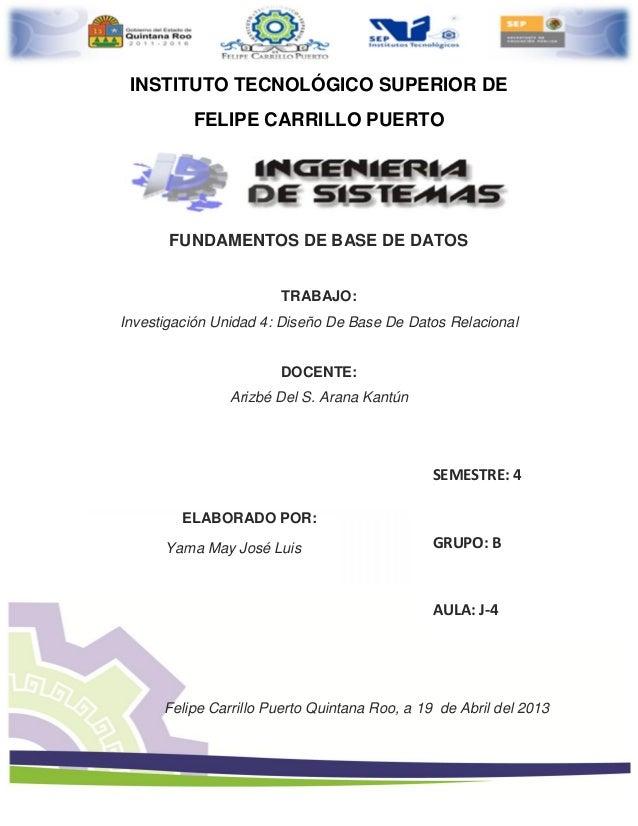 INSTITUTO TECNOLÓGICO SUPERIOR DEFELIPE CARRILLO PUERTOFUNDAMENTOS DE BASE DE DATOSTRABAJO:Investigación Unidad 4: Diseño ...