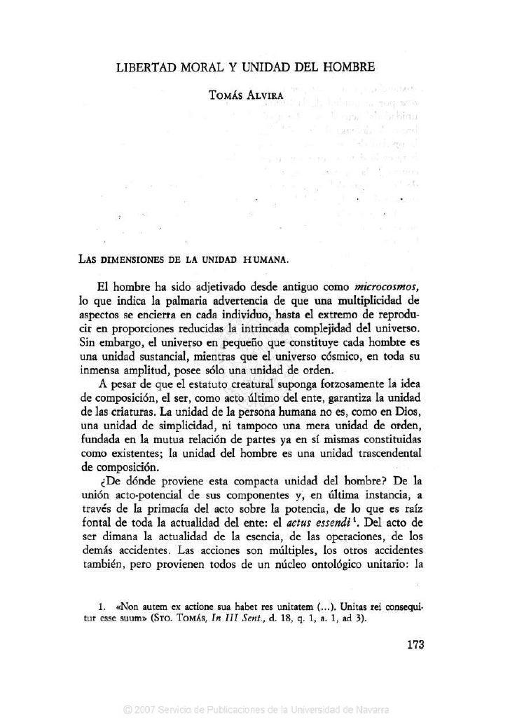 LIBERTAD MORAL Y UNIDAD DEL HOMBRE                               TOMÁS ALVIRA                       •                     ...