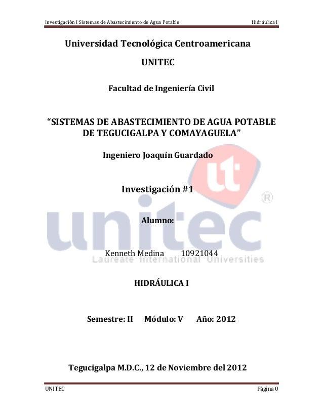 Investigación I Sistemas de Abastecimiento de Agua Potable                  Hidráulica I         Universidad Tecnológica C...
