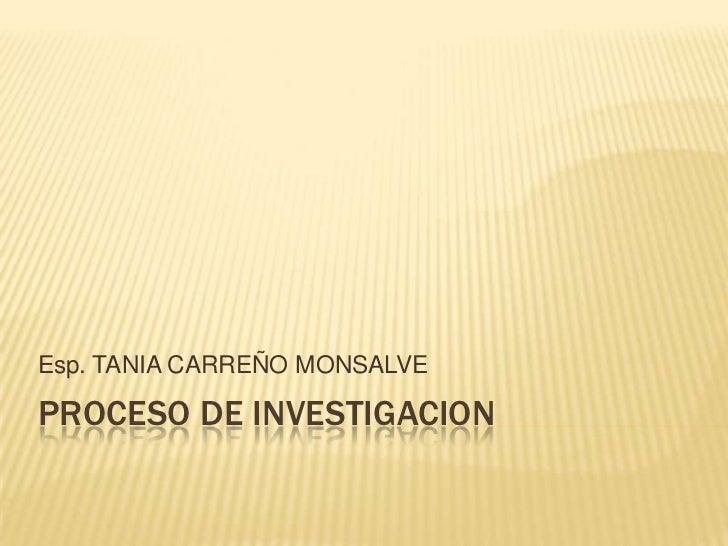 Esp. TANIA CARREÑO MONSALVEPROCESO DE INVESTIGACION