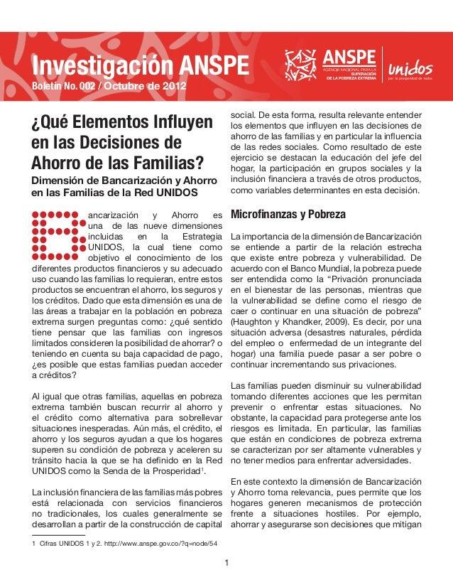 Investigación ANSPEBoletín No. 002 / Octubre de 2012¿Qué Elementos Influyen                                               ...