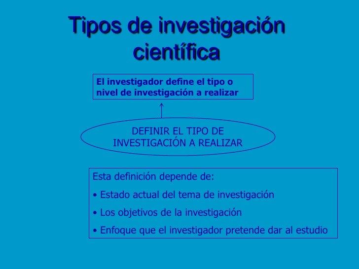 Tipos de investigación científica<br />El investigador define el tipo o <br />nivel de investigación a realizar<br />DEFIN...