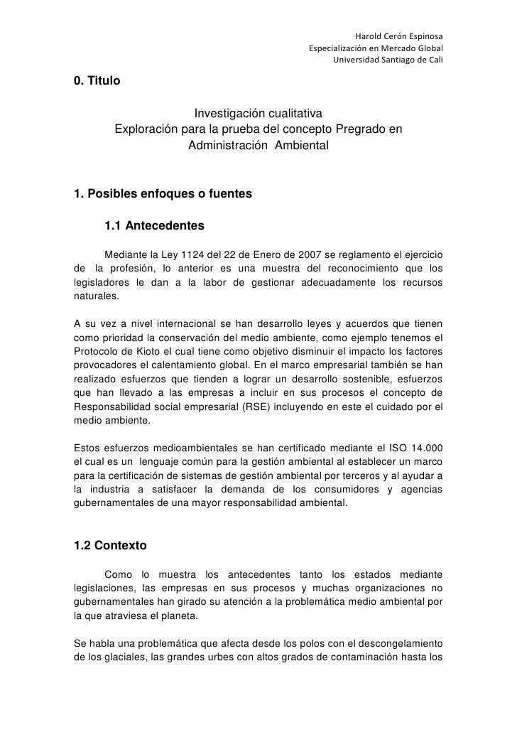 0. Titulo<br />Investigación cualitativa<br />Exploración para la prueba del concepto Pregrado en Administración  Ambienta...
