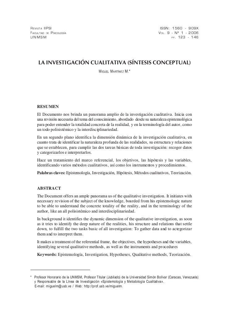 Investigacion cualitativa sintesis conceptual