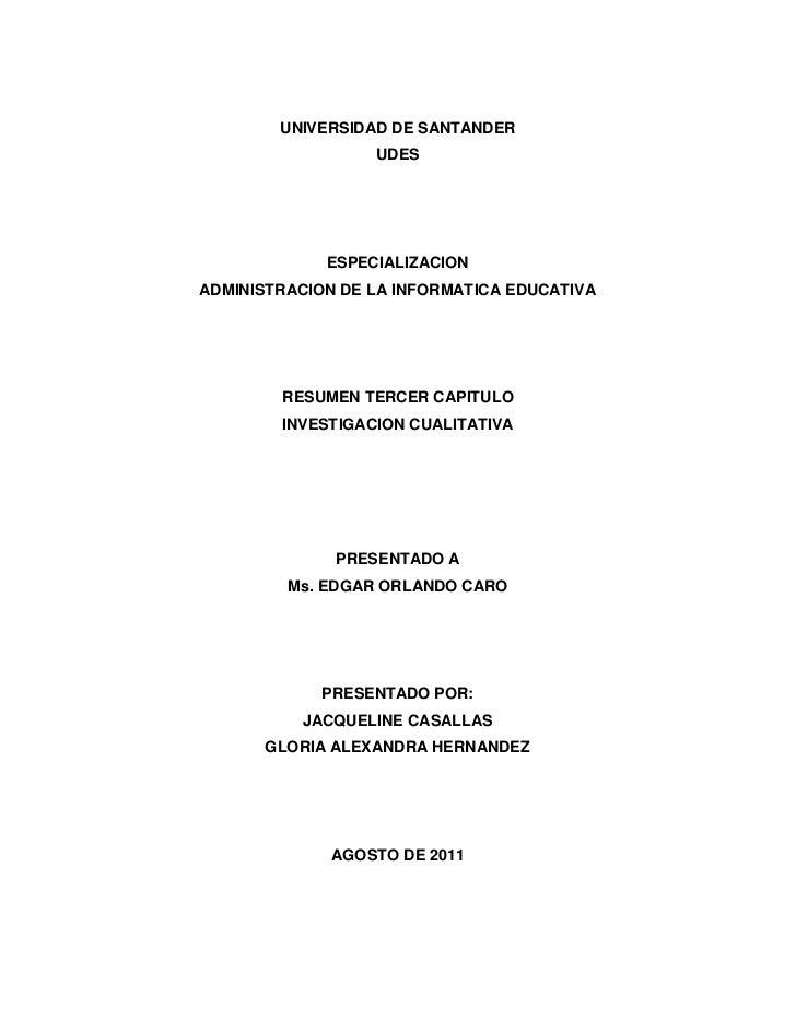 Investigacion cualitativa, tercer capitulo