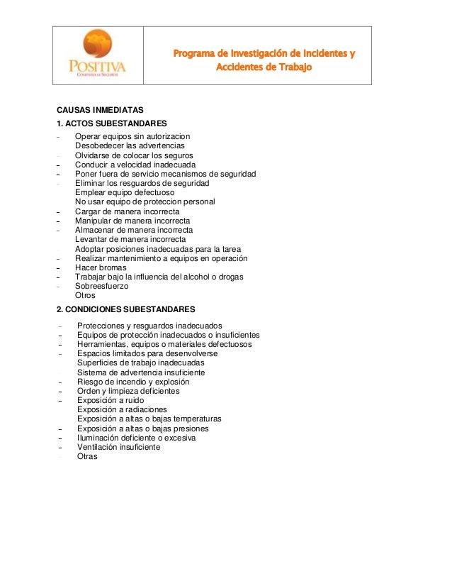 Programa de Investigación de Incidentes y Accidentes de Trabajo CAUSAS INMEDIATAS 1. ACTOS SUBESTANDARES Operar equipos si...