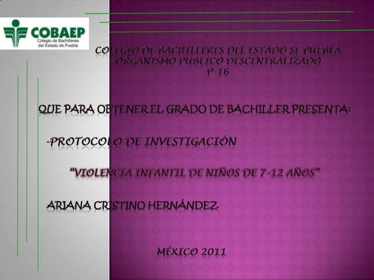 COLEGIO DE BACHILLERES DEL ESTADO SE PUEBLA<br />ORGANISMO PUBLICO DESCENTRALIZADO<br />P-16<br />Que para obtener el grad...