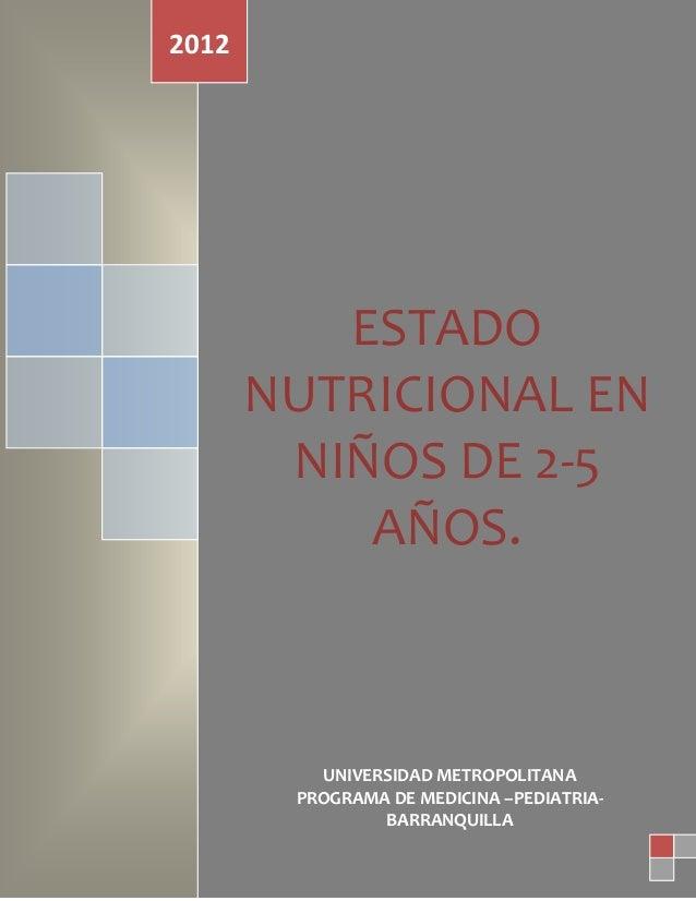 Complicaciones de laPancreatitis Aguda.ESTADONUTRICIONAL ENNIÑOS DE 2-5AÑOS.2012UNIVERSIDAD METROPOLITANAPROGRAMA DE MEDIC...