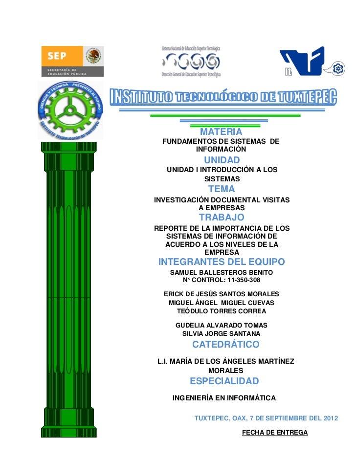MATERIA  FUNDAMENTOS DE SISTEMAS DE         INFORMACIÓN            UNIDAD   UNIDAD I INTRODUCCIÓN A LOS              SISTE...