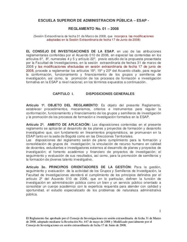 ESAP Investigaciones Modificacion Reglamento 01 de 2008