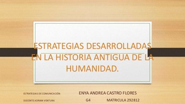 ESTRATEGIAS DESARROLLADAS EN LA HISTORIA ANTIGUA DE LA HUMANIDAD. ESTRATEGIAS DE COMUNICACIÓN ENYA ANDREA CASTRO FLORES DO...