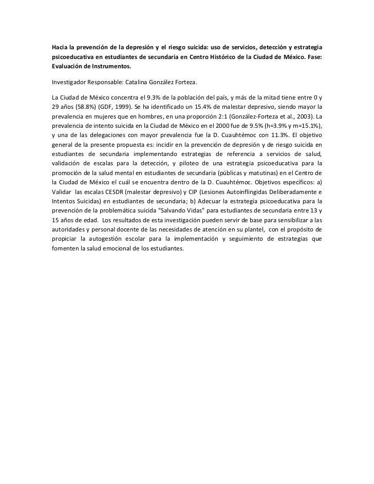 Hacia la prevención de la depresión y el riesgo suicida: uso de servicios, detección y estrategiapsicoeducativa en estudia...