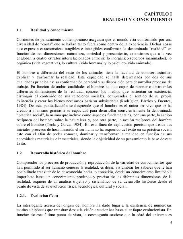 CAPÍTULO I                                                     REALIDAD Y CONOCIMIENTO1.1.     Realidad y conocimientoCorr...