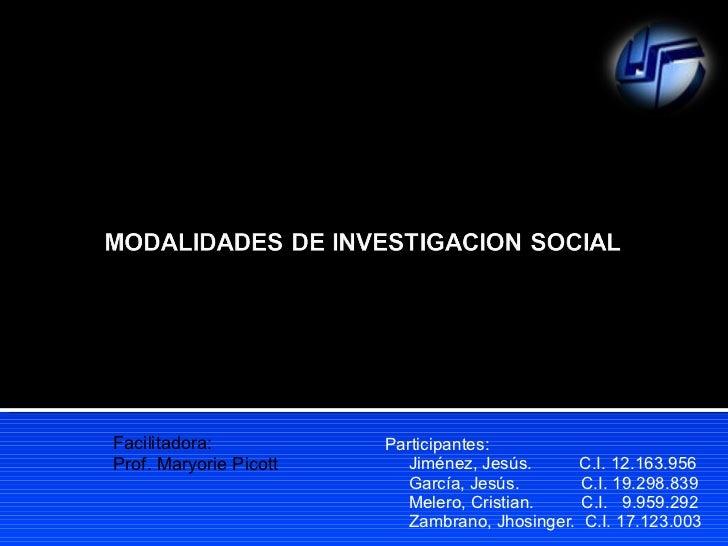 MODALIDADES DE LA INV. SOCIAL