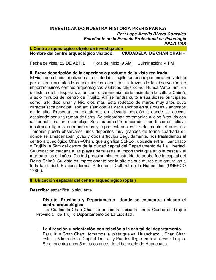 INVESTIGANDO NUESTRA HISTORIA PREHISPANICA                                           Por: Lupe Amelia Rivera Gonzales     ...