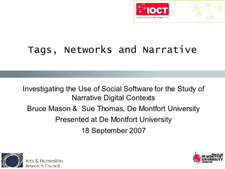 Investigating the Use of Social Software for the Study of Narrative Digital Contexts