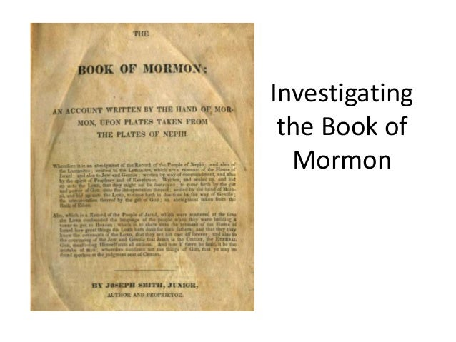 Where can i find the documentary trace of the book of Mormon?