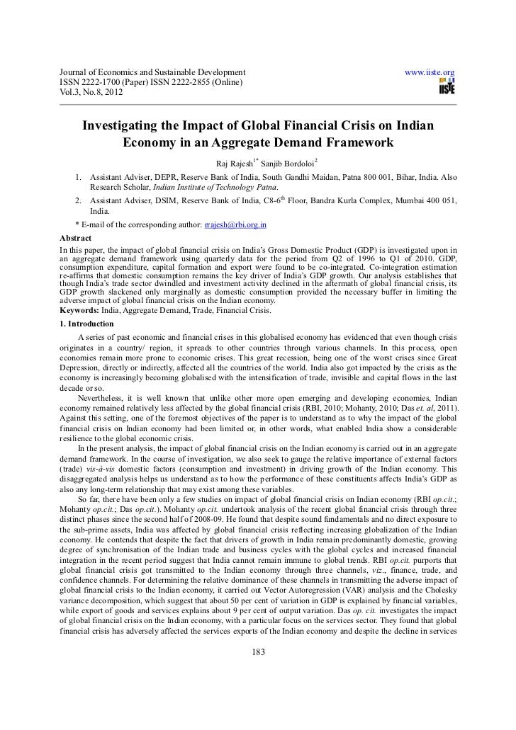 Investigating the impact of global financial crisis on indian