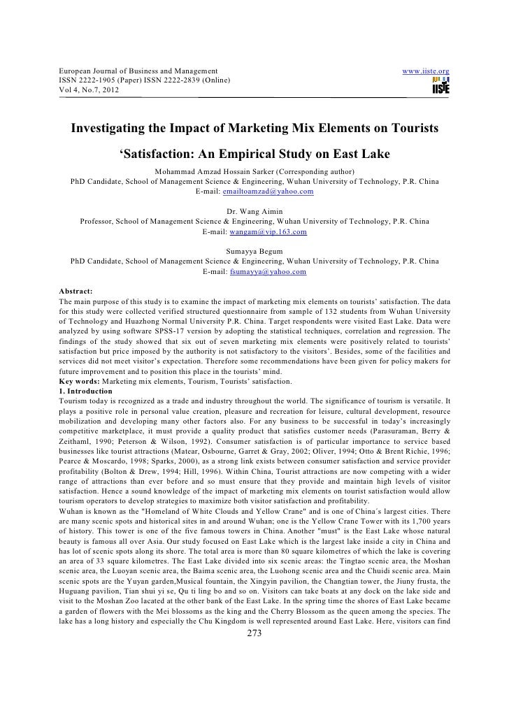 Investigating the impact of marketing mix elements on tourists 'satisfaction