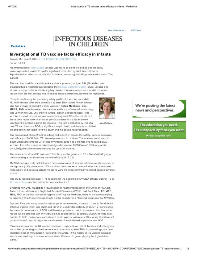 Investigational TB Vaccine Lacks Efficacy in Infants