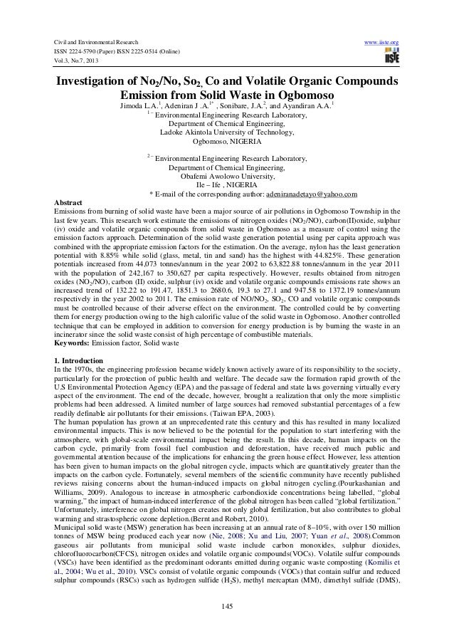 Civil and Environmental Research www.iiste.org ISSN 2224-5790 (Paper) ISSN 2225-0514 (Online) Vol.3, No.7, 2013 145 Invest...