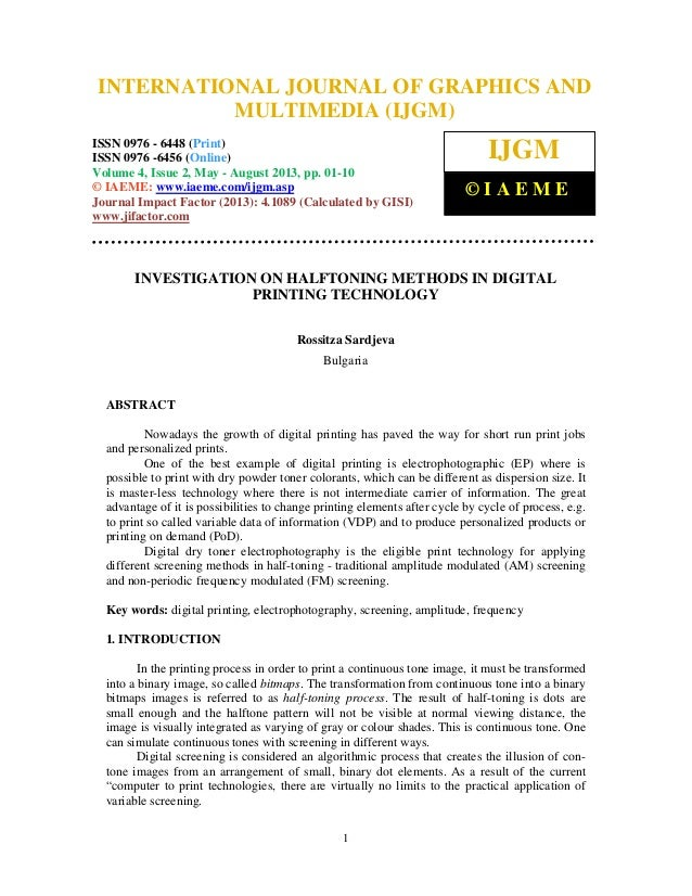 Investigation on halftoning methods in digital printing technology