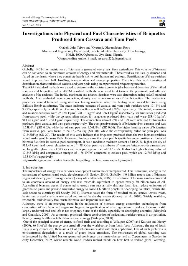 Journal of Energy Technologies and Policy www.iiste.org ISSN 2224-3232 (Paper) ISSN 2225-0573 (Online) Vol.3, No.7, 2013 4...