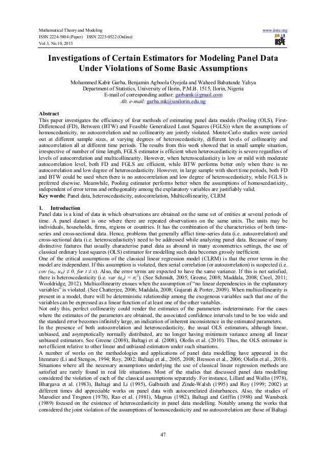Investigations of certain estimators for modeling panel data under violations of some basic assumptions