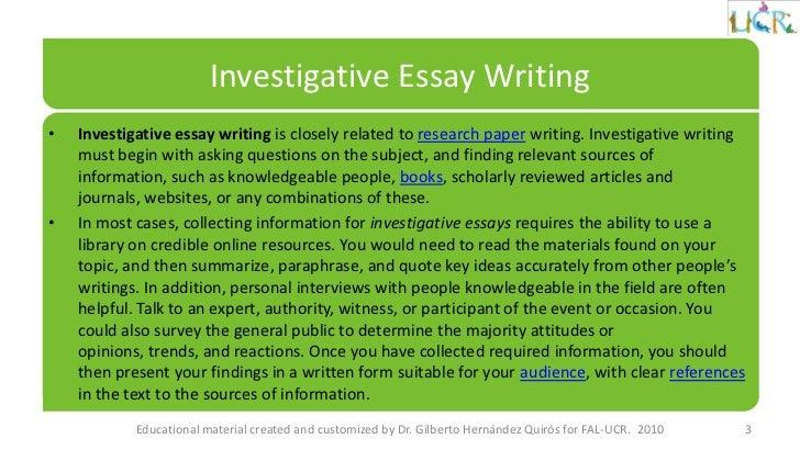 Investigatve Essay Question?