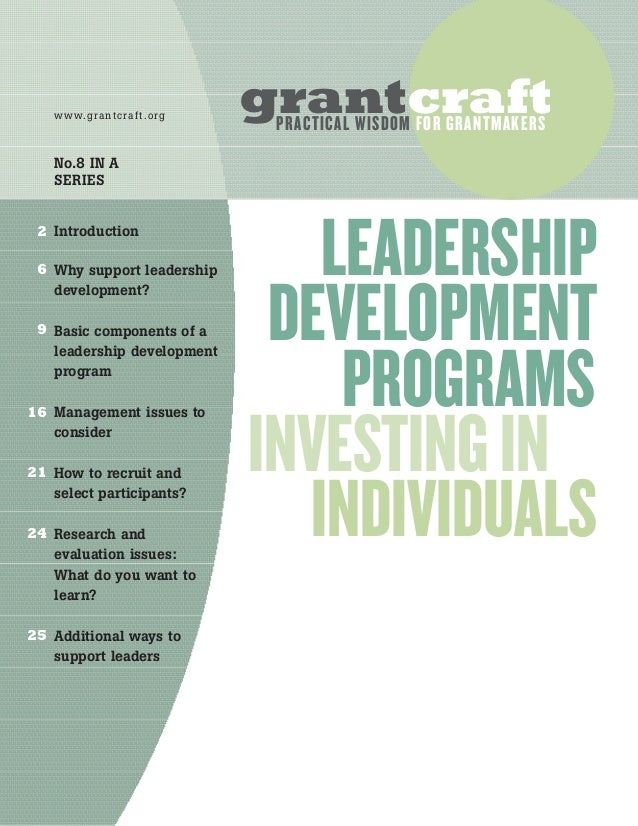 Introduction Why support leadership development? Basic components of a leadership development program Management issues to...