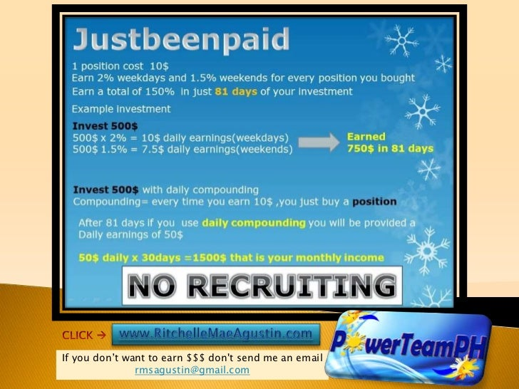If you don't want to earn $$$ dont send me an email               rmsagustin@gmail.com