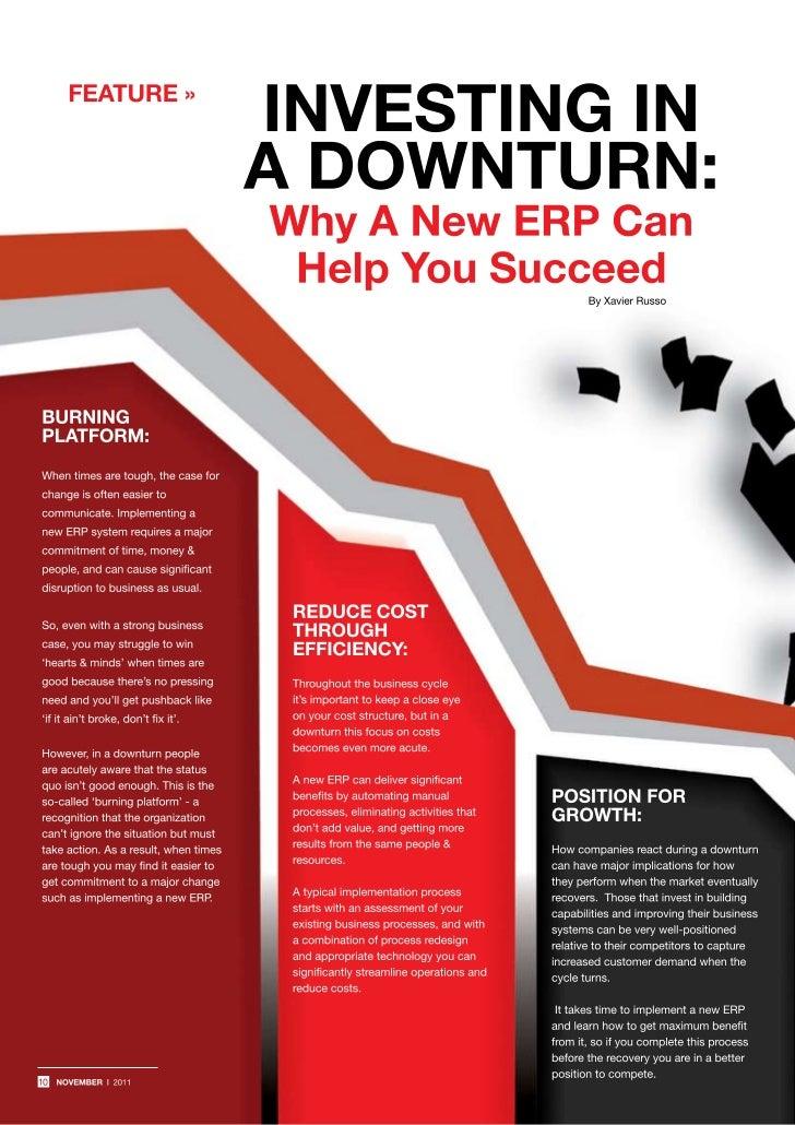 ERP: Investing in a downturn