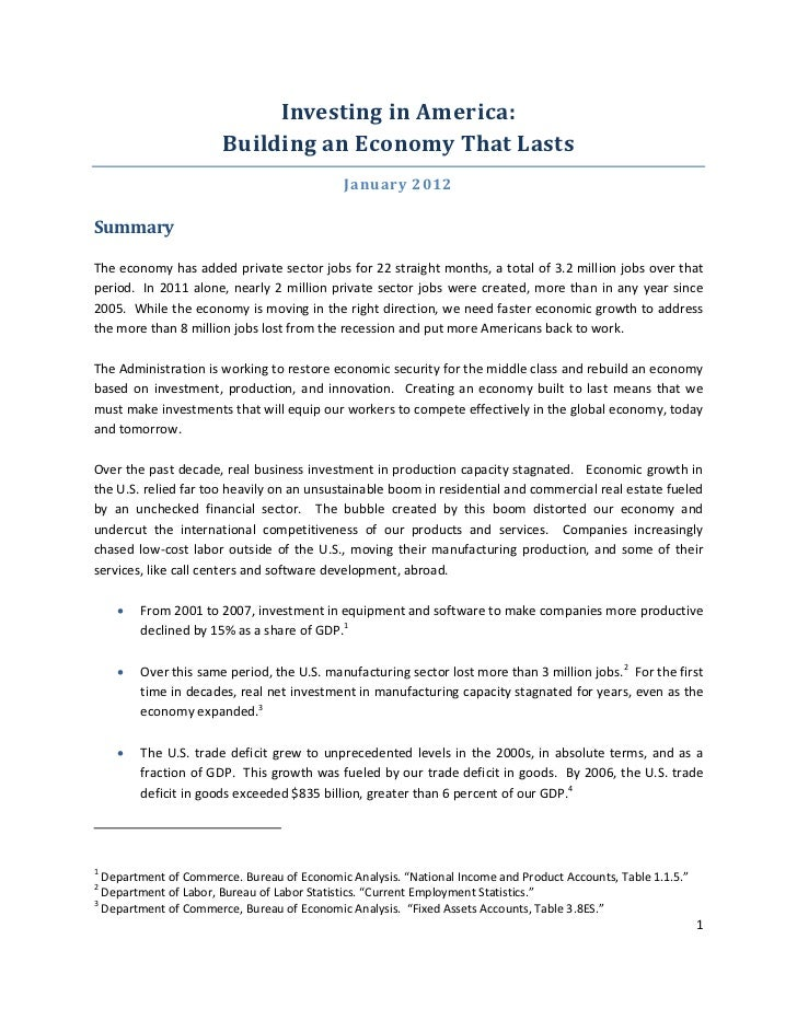 Investing in America: Building an Economy that Lasts