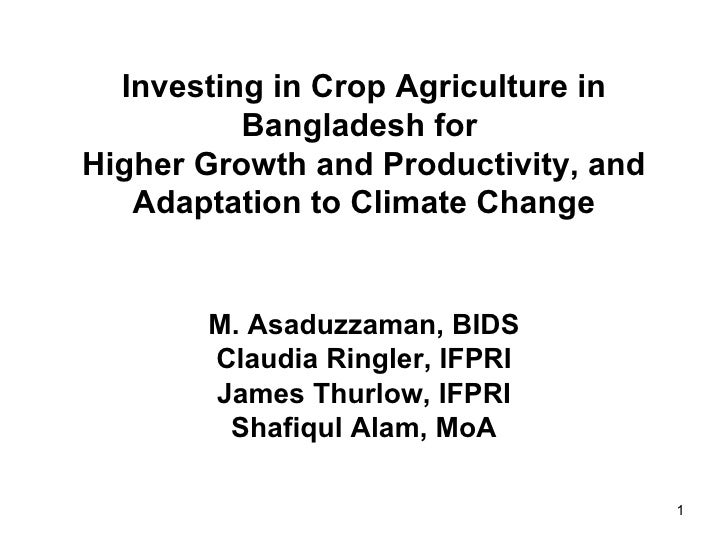 Investing in Crop Agriculture in Bangladesh for Higher Growth and Productivity and Adapttation to Climate Change