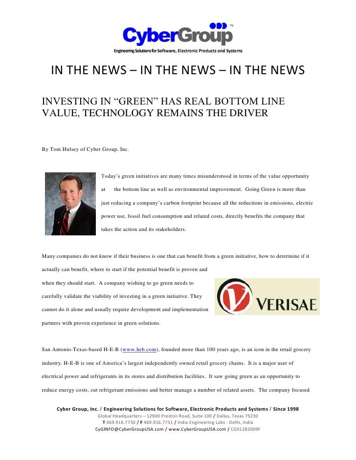 "IN THE NEWS – IN THE NEWS – IN THE NEWS  INVESTING IN ""GREEN"" HAS REAL BOTTOM LINE VALUE, TECHNOLOGY REMAINS THE DRIVER   ..."