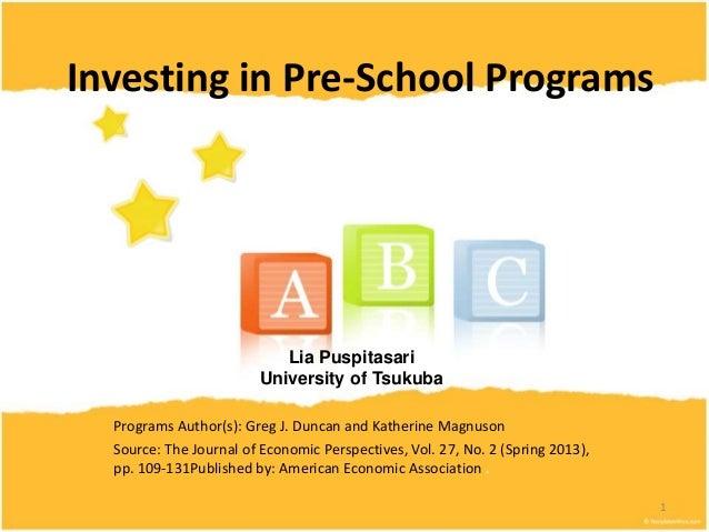Investing in pre school programs