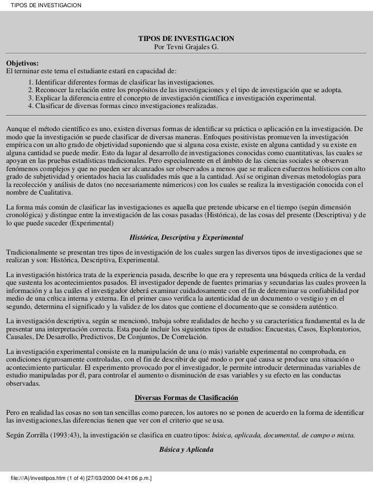 TIPOS DE INVESTIGACION                                                        TIPOS DE INVESTIGACION                      ...