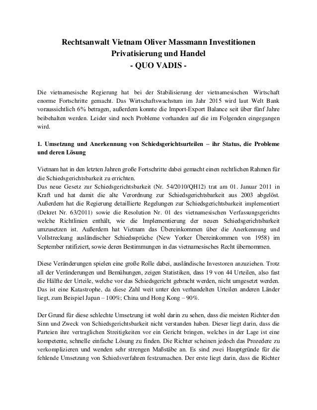 Rechtsanwalt Vietnam Oliver Massmann Investitionen Privatisierung und Handel - QUO VADIS - Die vietnamesische Regierung ha...