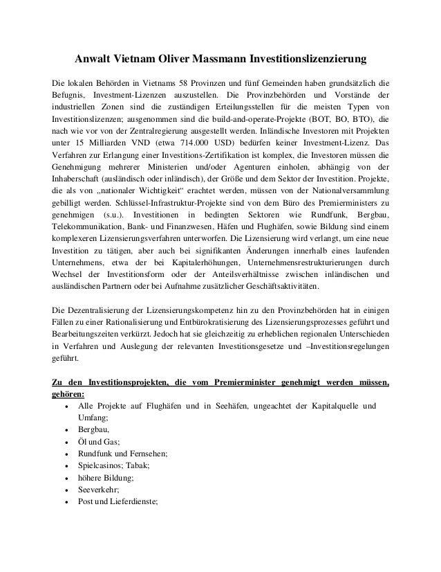 Anwalt Vietnam Oliver Massmann Investitionslizenzierung Die lokalen Behörden in Vietnams 58 Provinzen und fünf Gemeinden h...